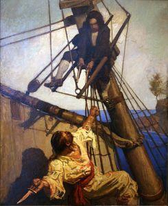"The fictional Israel Hands confronting the boy hero of ""Treasure Island,"" Jim Hawkins"