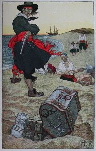 Which pirate did Howard Pyle show burying treasure? Why, Captain Kidd, of course!