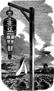 Kidd's body was hung in chains along the shore of the Thames as a warning to sailors not to turn pirate