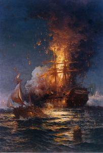 "The ""Philidelphia"" burns"