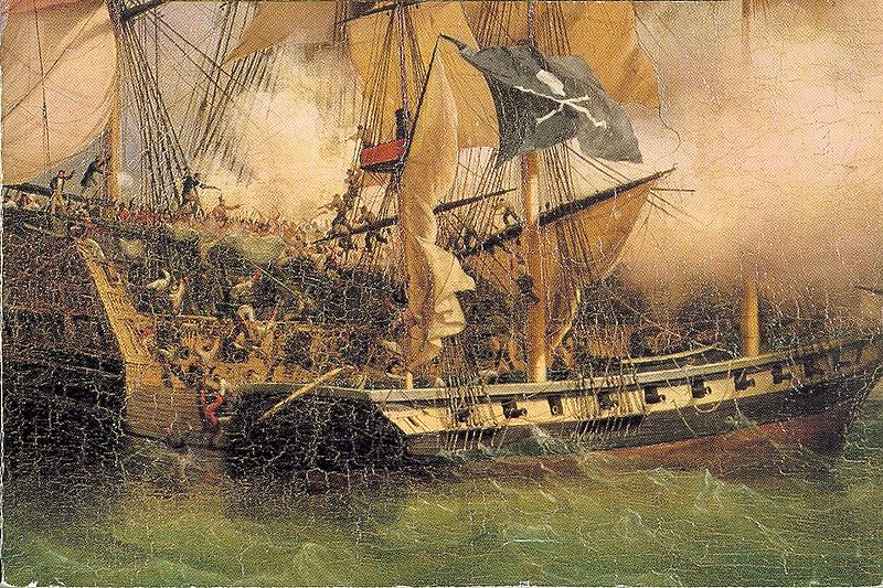 Pirate Ship Battle Paintings Painting by am Pirate Ship