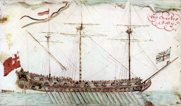 There are no surviving pictures of the Adventure Galley, but this is of a very similar ship, the Charles Galley