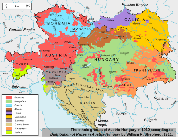 The Austro-Hungarian Empire was another example of two states under one monarch. Note how it consisted of many peoples, several of which have their own nations today.