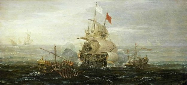 Barbary (Muslim North African) pirates attacking a Frech ship in the Mediterranean