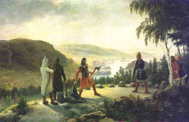 On another occasion, Egil challenged Berg-Onund to a duel over a disputed inheritance when he couldn't get satisfaction by litigation. Painting by Johannes Flintoe (1787-1870)