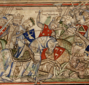 Harald (center) charging into battle for the last time