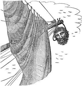 Captain Maynard hung Blackbeard's head from the bowsprit of his ship